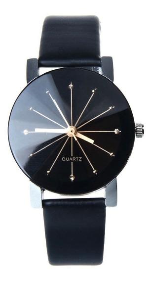 Relógio Feminino Prata Pulseira Preto Rg003f Promoção!!!