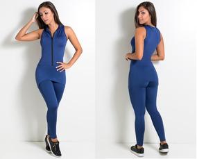 Macacao Feminino Azul Marinho Fechado Longo Roupa Fitness