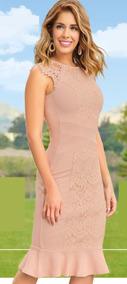Vestido Palo De Rosa C/encaje Cklass 985-09