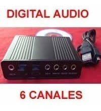 Tarjeta De Sonido Usb Externo 6 Canales+optical P/pc 2.1 5.1