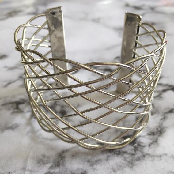 Maxi Bracelete Feminino Trançado - Dourado , Prata, Fosco