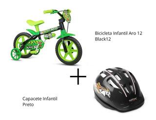 Kit Bicicleta Aro 12 Black 12 + Capacete Preto - Nathor
