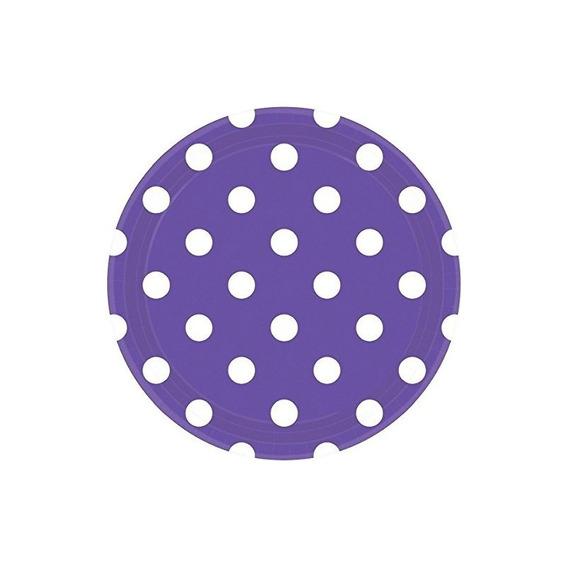 Platos De Papel Redondos Desechables De Amscan Dots (8 Pedaz