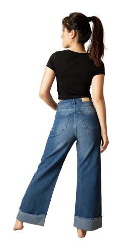 Jean Culotte Pantalon Mujer Rigido