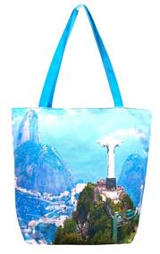 Frete Grátis Bolsa Feminina Lona Rio Janeiro Cristo Redentor