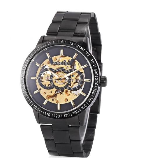 Relógio Winner Automático Black + Brinde Frete Grátis