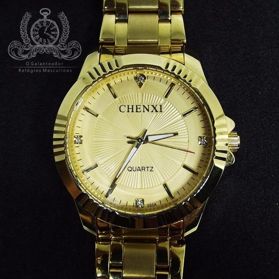 Relógio Masculino Chenxi Dourado Original Luxo