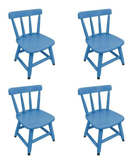 Kit 4 Cadeiras Country Infantil De Madeira P/ Criança
