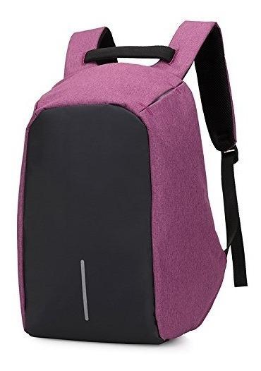 Oferta Mochila Violeta Anti Robo Impermeable Porta Notebook