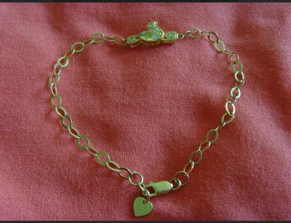 Brazalete Pulsera Esclava~oro 10kt K~dije~zirconias~corazon