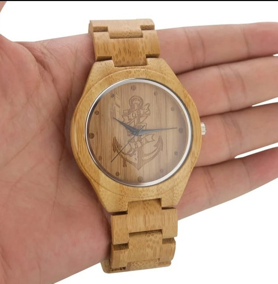 Relógio Perdidos No Mar -madeira De Bambu -náutica