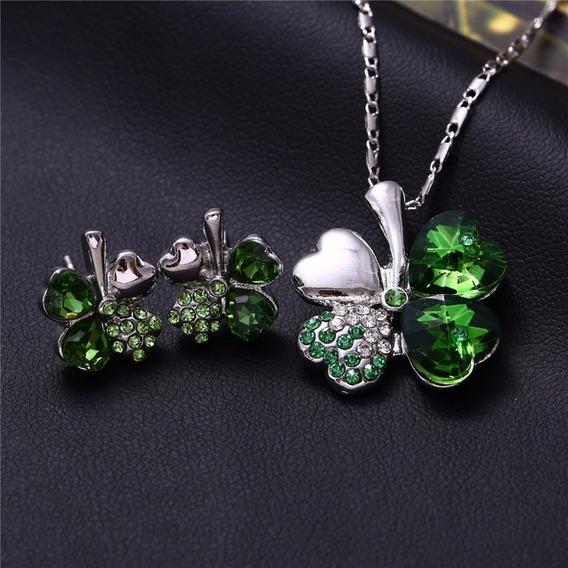 Colar Brincos Trevo Da Sorte Cristal Verde Com Prata 37012