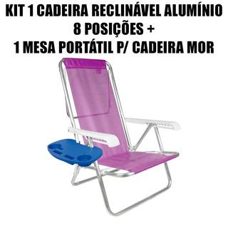 Kit 1 Cadeira Reclinável Alumínio 8 Posições + Mesa Portátil