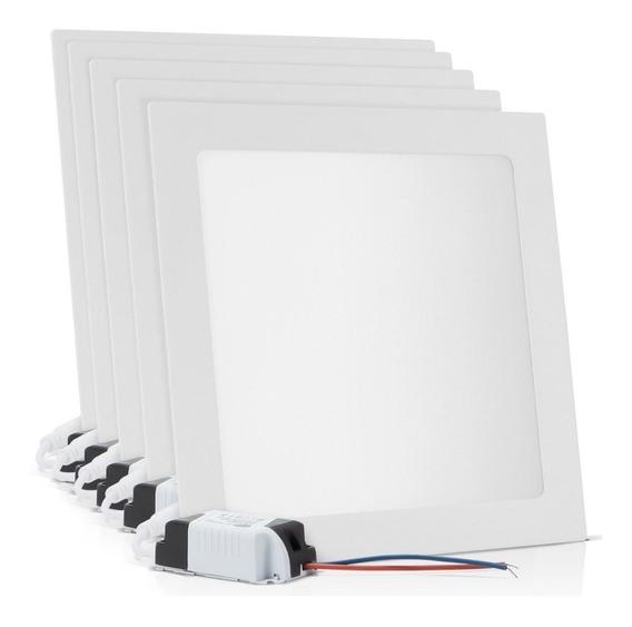 Kit 5 Painel Plafon Embutir 18w Led Quadrado Branco Frio