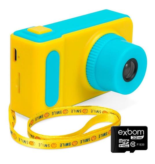 Camera Digital Infantil 5.0 Mp Filmagem Fotos Tela Lcd Recarregável Cartão 32gb Grátis