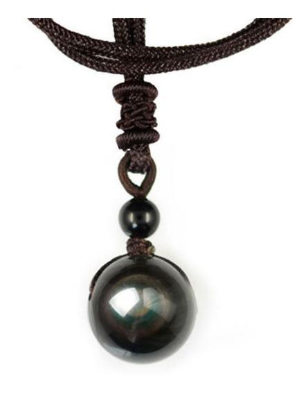 Colar Pedra Negra Obsidian Good Vibes Pingente Bola Olho