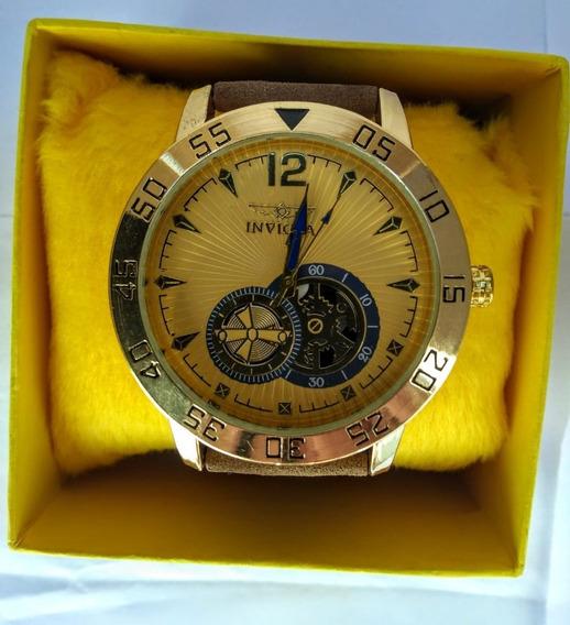 Relógio Luxo Masculino Pulso Social Pulseira Couro Promoção