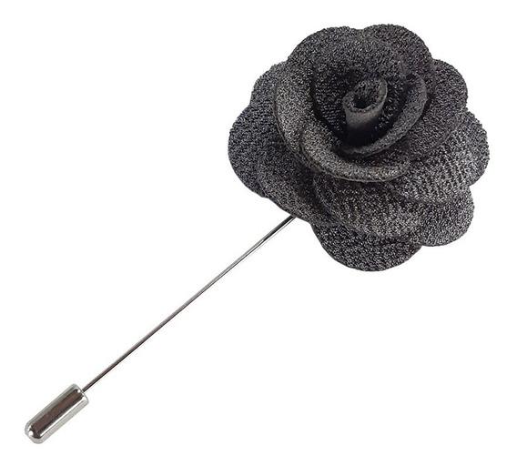 Fistol Pin Broche De Flor De Tela Color Gris Para Solapa