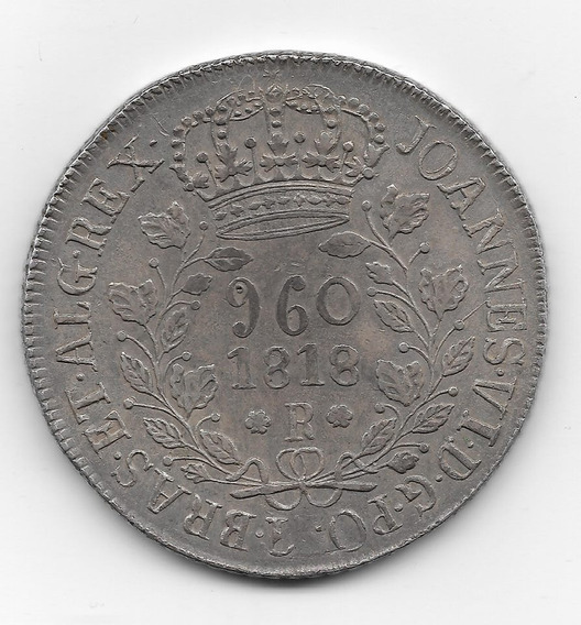 960 Réis 1818r Nova Guatemala 1810 C/ Busto Carolus Illl Ler