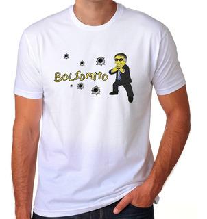 Camiseta Branca Bolsonaro Bolsomito Simpson Furo Marca Bala