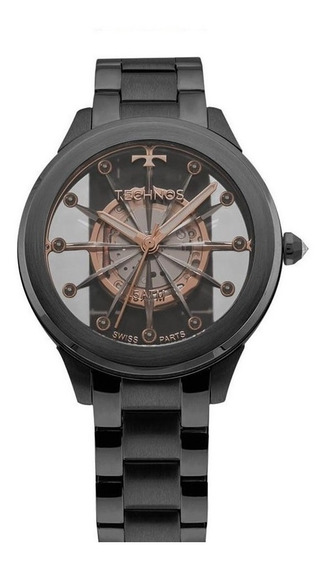 Relógio Feminino Technos Elegance F03101ac/4w Aço Preto
