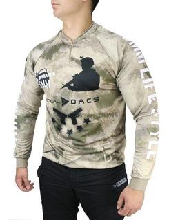 Camiseta Tática Airsoft Longa Dryfit Camuflada Atacs Au Dacs