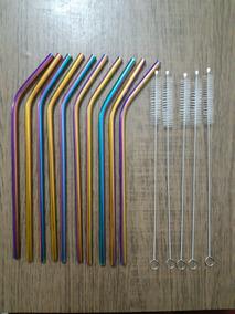 10 Canudos Curvos Coloridos Inox + 10 Escovas