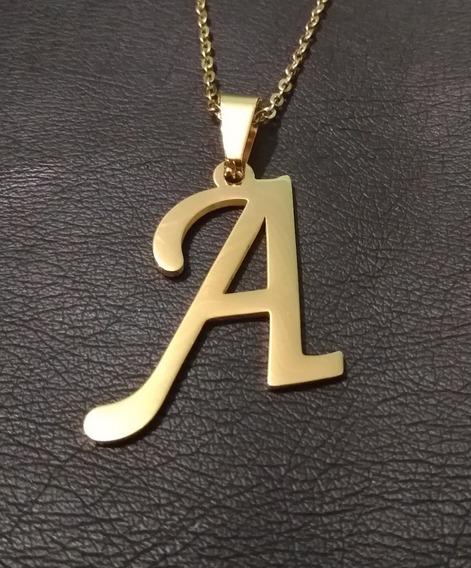 Corrente Cordão Pingente Aço Letras Ouro Cor Dourado Social
