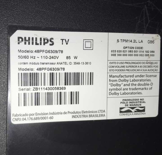 Tv Philips 48 Com Display Quebrado No Canto Esquerdo.
