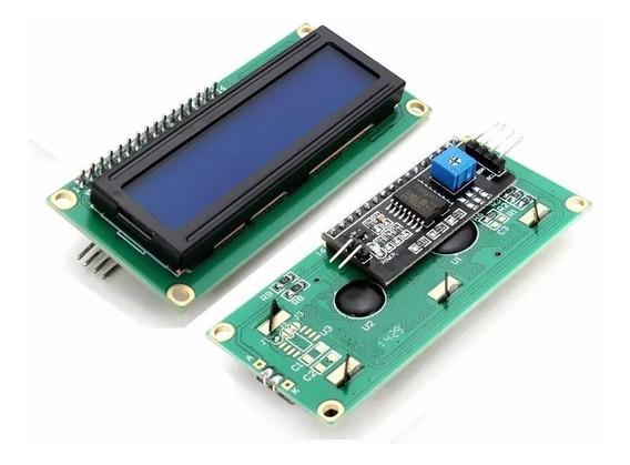 Display Lcd 16x2 1602 Fundo Azul C/ Modulo I2c Já Soldado
