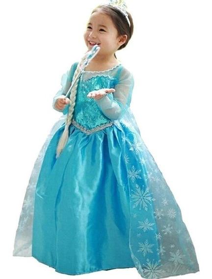 Fantasia Elsa Frozen + Trança Coroa Varinha Infantil