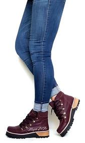 Bota Borcego Botineta Zapatos Cuero Mujer Clasicas Invierno