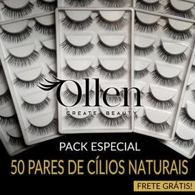 Kit 50 Pares Cílios Postiços Naturais Ollen + Pinça Promoção