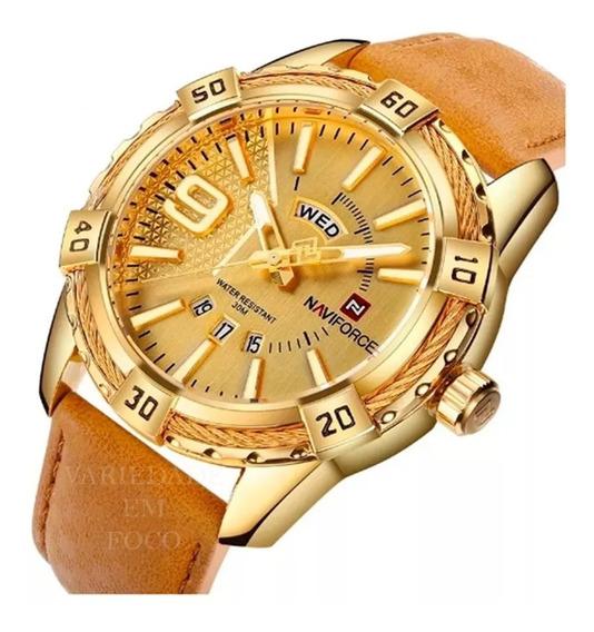 Relógio Masculino Naviforce Nf9117 Couro Original Calendário