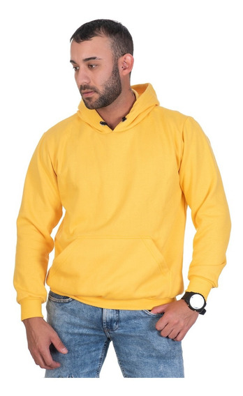 Moletom Amarelo Canguru Liso Estiloso Moda Inverno Oferta