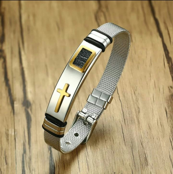 Pulseira Masculina Bracelete Aço Inoxidável B Ouro 18k .