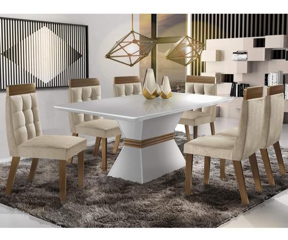Conjunto Sala Jantar 6 Cadeiras Cronos Chanfro Siena Ef