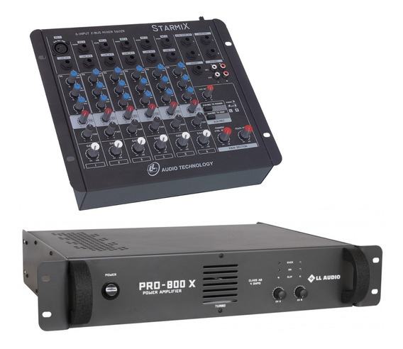 Kit Mesa Som 6 Canais Ll S602r + Potencia Pro800x 200w