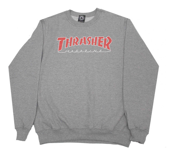 Moletom Thrasher Magazine Outlined Crewneck Grey