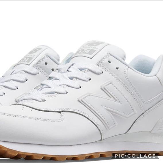 Zapatillas New Balance 574 Blancas Cuero Lo Mas Vendido!!