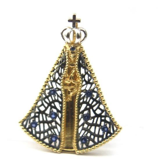 Pingente Religioso Nossa Senhora De Aparecida Ouro 18k D850
