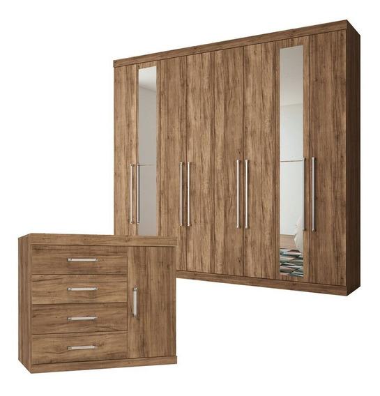 Guarda-roupa Casal 8 Portas 4 Gavetas Espelho E Cômoda