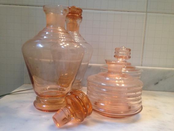Set De 5 Perfumeros/frascos Antig. Color Rosa Nuevos Sin Uso
