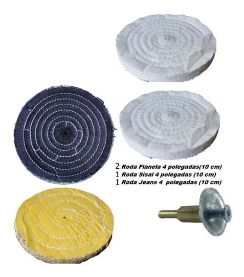 Kit Roda Polimento 4 Pol Sisal Jeans 2 Flanela Adaptador
