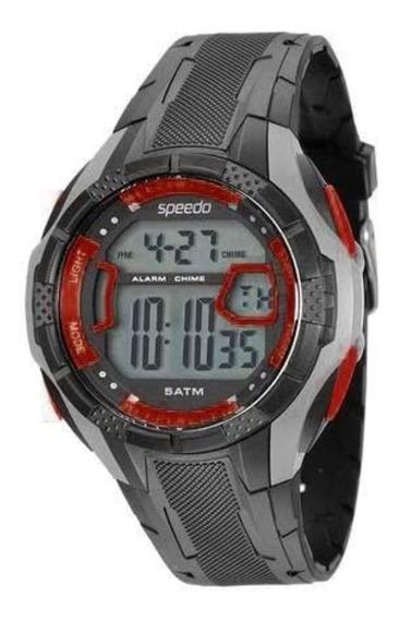 Relógio Masculino Speedo Preto E Cinza Digital Original + Nf
