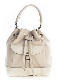 Bolsa Saco Com Bolso Couro Legítimo Andrea Vinci Marfim