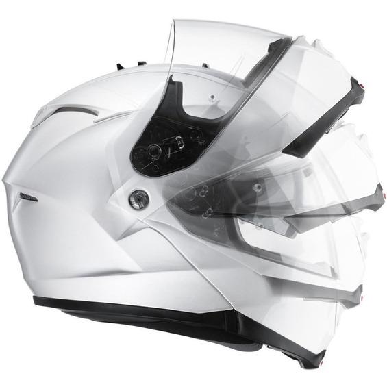 Casco Moto Hjc Rebatible Is- Max 2 Doble Visor Euro White