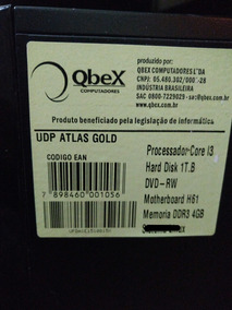 Computador Qbex Intel Core I3. 1t De Hd 4g Memória Interna.