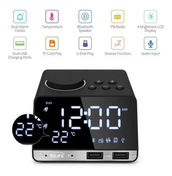 Relógio Despertador Digital Rádio Bluetooth Alarm Temperatur