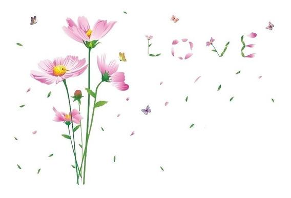 Adesivo Para Parede Decoração Flores Love Delicado Promoção